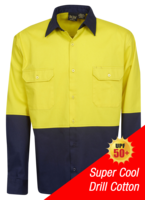 HI-VIS COTTON DRILL LONG SLEEVE SHIRT