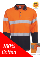 100% Cotton Day/Night Hi Vis Polo Long Sleeve