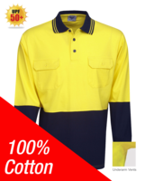 100% Cotton Hi Vis Polo Long Sleeve
