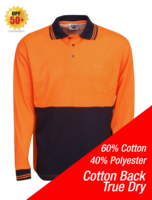 Cotton Back True Dry Hi Vis Polo Long Sleeve