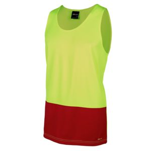 JB's Hi Vis Traditional Singlet Lime/Red XS Thumbnail