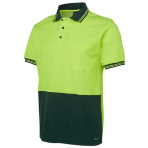JB's Hi Vis S/S Cotton Back Polo Lime/Bottle XS Thumbnail