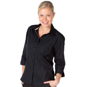 JB's Ladies Contrast Placket 3/4 Shirt Black/White 8 Thumbnail
