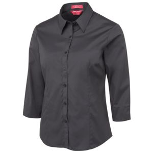 JB's Ladies Urban 3/4 Poplin Shirt Black/White 6 Thumbnail