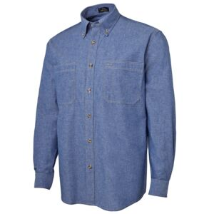 JB's L/S Cotton Chambray Shirt Chambray/Tan S Thumbnail