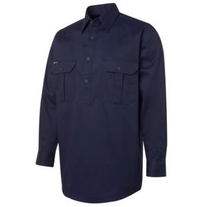 JB's L/S 190G Close Front Work Shirt Navy S Thumbnail
