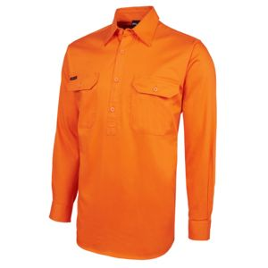 JB's HV Close Front L/S 190G Shirt Orange/Navy XS Thumbnail