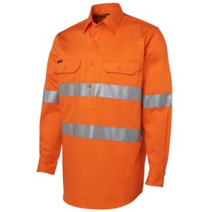 JB's Hi Vis (D+N) Close Front L/S Shirt Orange/Navy XS Thumbnail