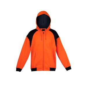 Mens Contrast Hi-Viz Fleece Zip Hoodie Thumbnail