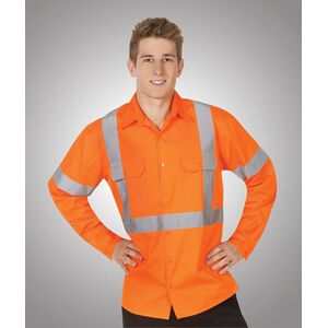 Hi-Viz 155gsm All Orange Cotton Twill Shirts Day/Night Use Thumbnail