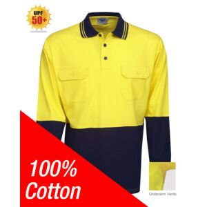 100% Cotton Hi Vis Polo Long Sleeve Thumbnail
