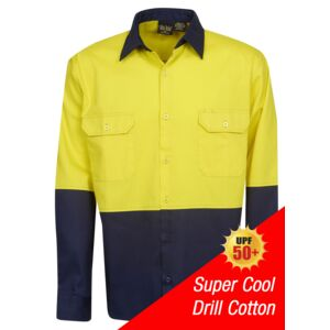 HI-VIS COTTON DRILL LONG SLEEVE SHIRT Thumbnail