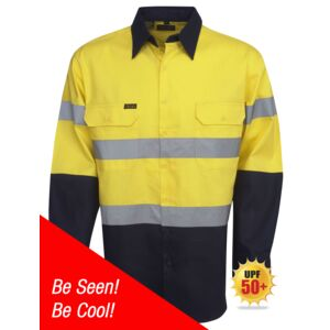 HI-VIS DAY/NIGHT COTTON DRILL LONG SLEEVE SHIRT Thumbnail