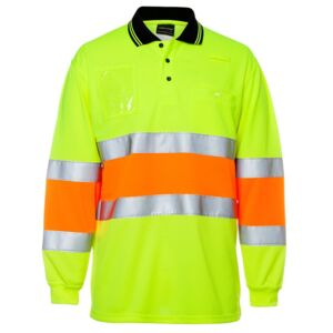 HI VIS BIO MOTION (D+N) L/S POLO WITH REFLECTIVE TAPE Thumbnail