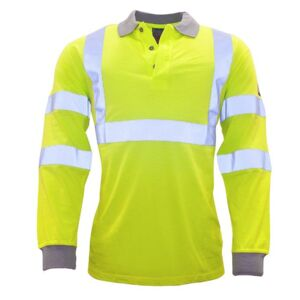 FLAME RESISTANT ANTI-STATIC HI-VIS LONG SLEEVE POLO SHIRT Thumbnail