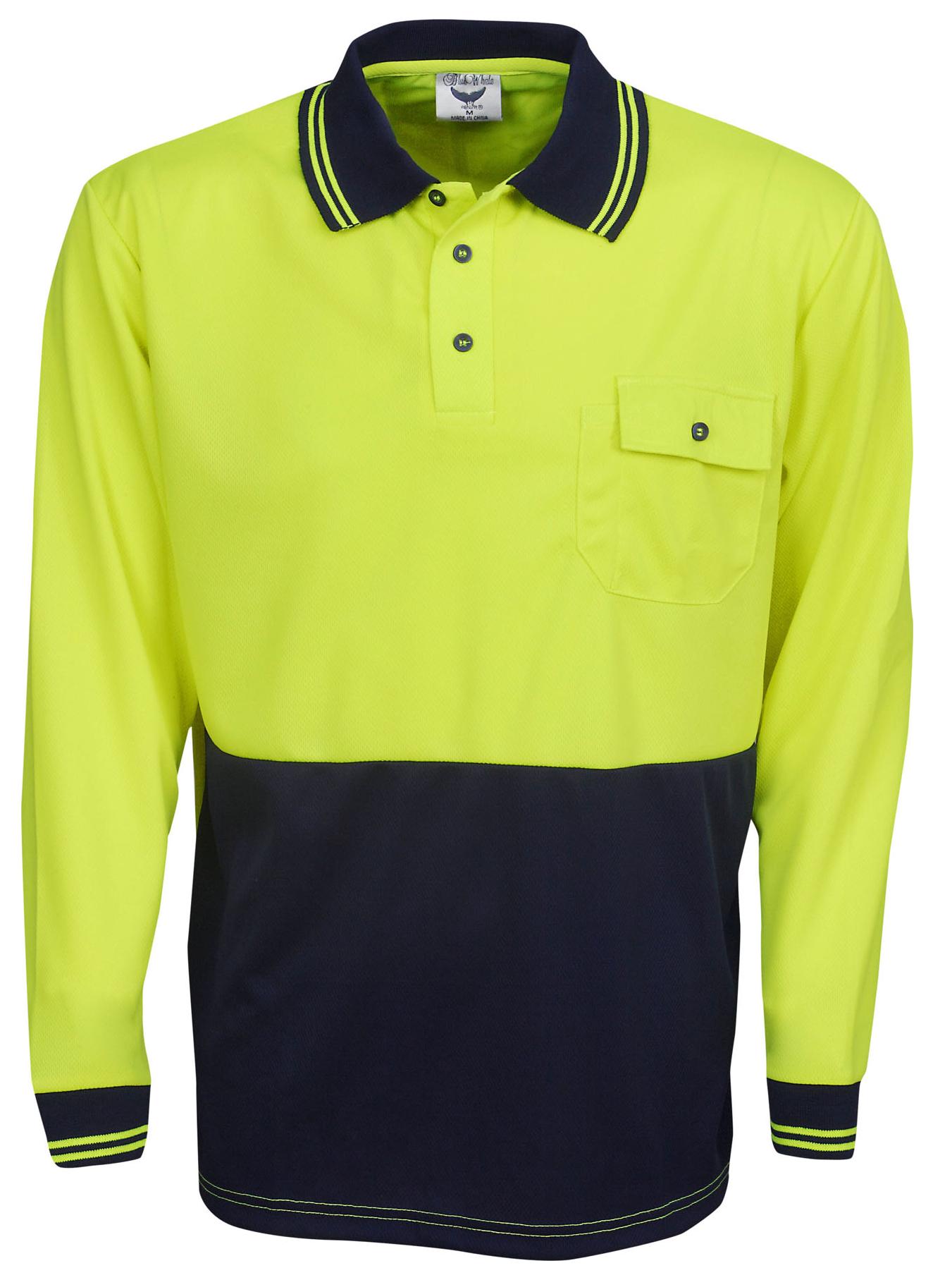Hi vis cool dry long sleeve polo shirt hi vis clothing for Hi vis polo shirts with pocket